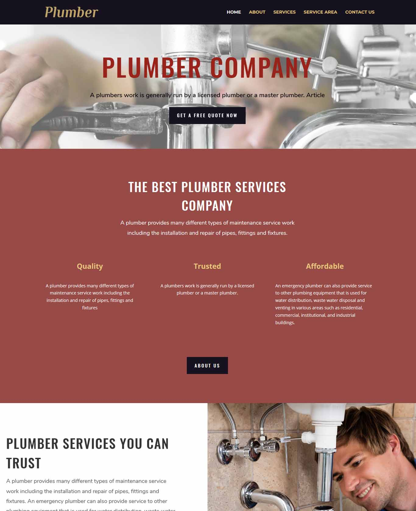 Plumber Website Sample Design 2
