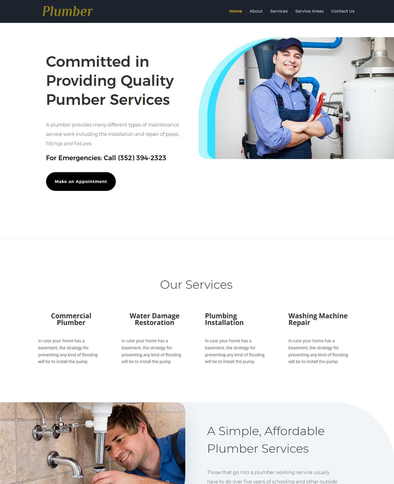 Plumber Website Sample Design 1